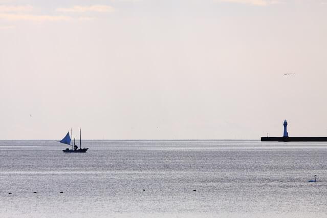 ■帆をかけた「打瀬舟」による北海シマエビ漁